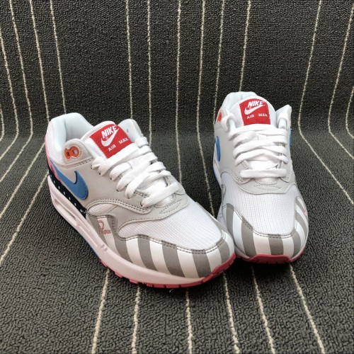 best service 664b9 2984e ... Nike Air Max 1 PARRA White Gray Blue Pink AT3057-100 36-45 ...
